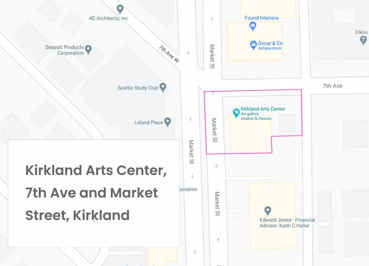 Image of map of Kirkland Arts Center and 7th Avenue Kirkland