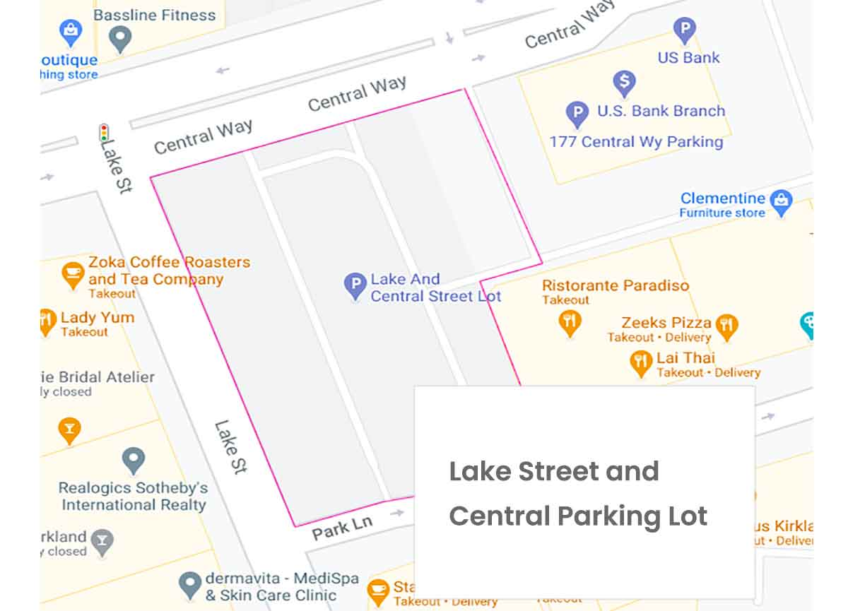 Map of Lake Street and Central Parking Lot