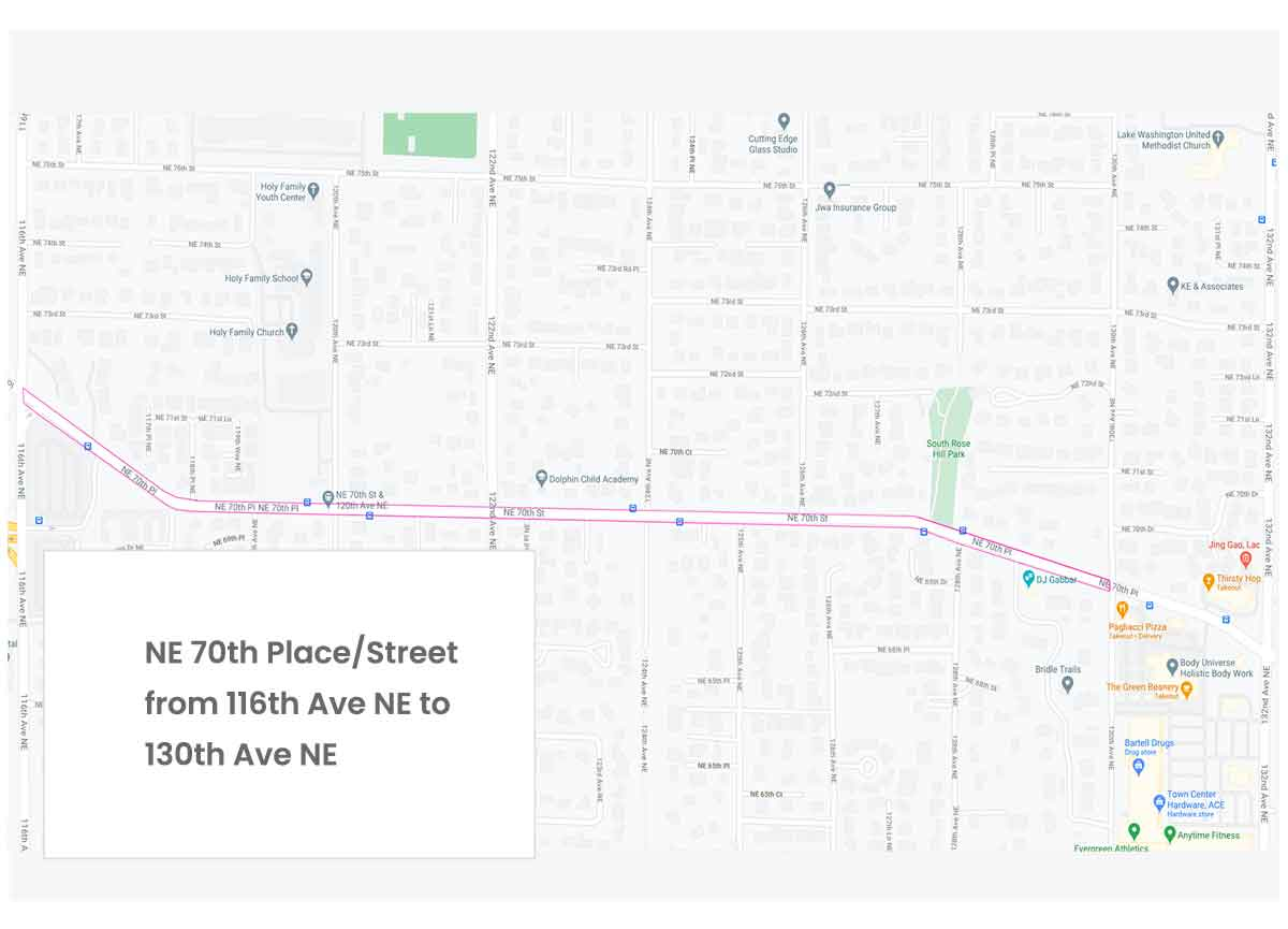 Map of NE 70th Street and Place