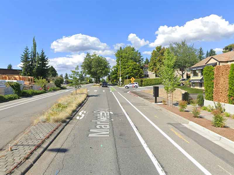 An image of Market Street at 13th Avenue Kirkland